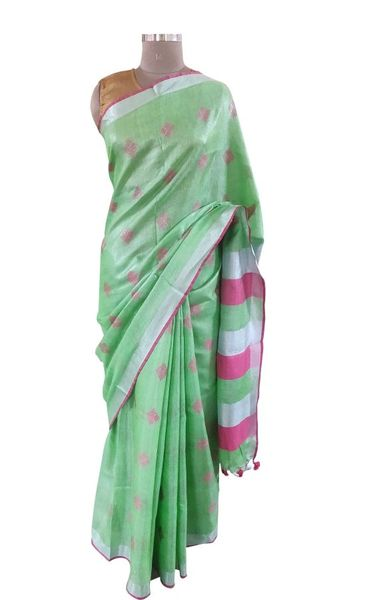 Silver Border Tissue Linen Cotton Weaven Saree (Green_BLS05)
