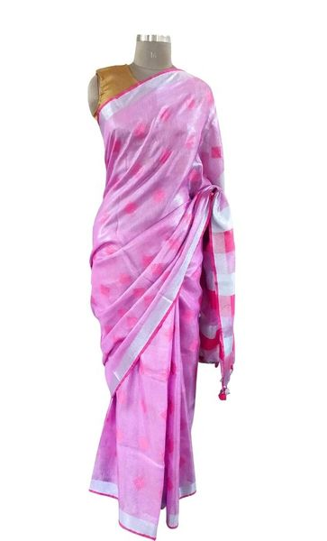 Silver Border Tissue Linen Cotton Weaven Saree (Pink_BLS04)