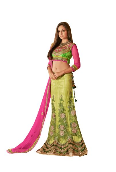 Green Pink Net Three Piece Lehenga Choli Dupatta Fabric Only SC1807