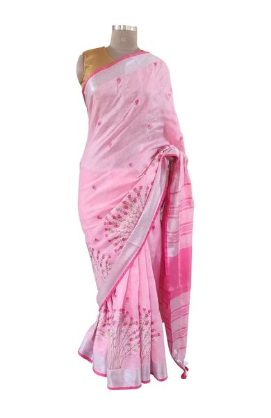 Silver Border Linen Cotton Embroidered Saree (Pink_BLS01)