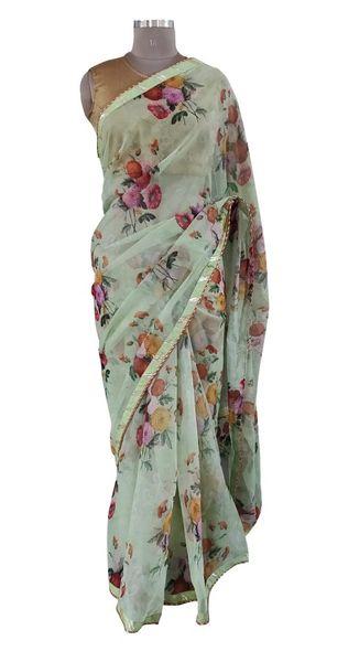 Organza Floral Printed Border Embellished Saree (Green_SP21)