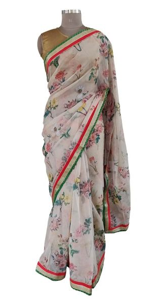 Organza Floral Printed Border Embellished Saree (Peach_SP22)