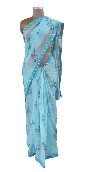 Organza Floral Printed Border Embellished Saree (Blue_SP20)