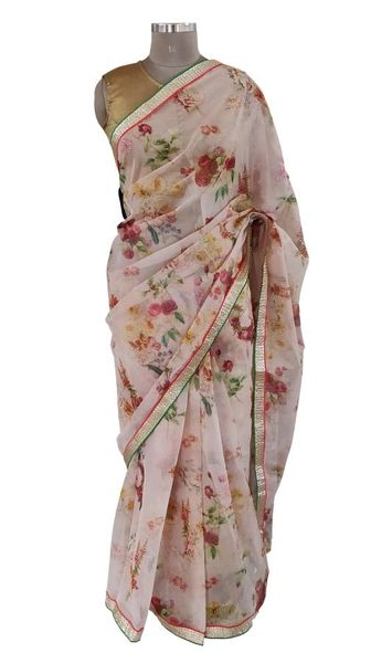 Organza Floral Printed Border Embellished Saree (Peach_SP19)