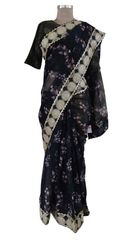 Organza Floral Printed Border Embellished Saree With Stitched Blouse (Black_SP18)