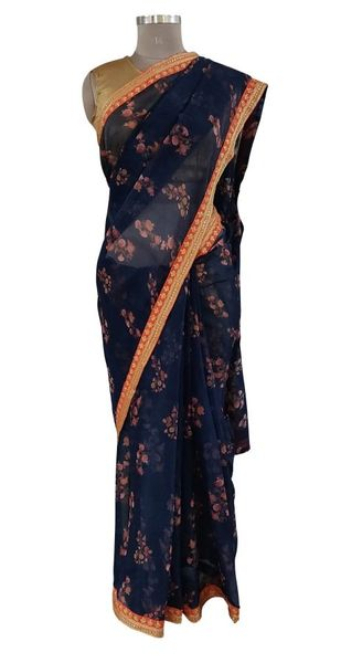 Organza Floral Printed Border Embellished Saree (Navy Blue_SP17)