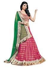 Pink Cream Brasso Georgette Three Piece Lehenga Choli Dupatta Fabric Only SC2367