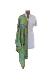 Jaipuri Lehariya Faux Chiffon Green Dupatta JPD05