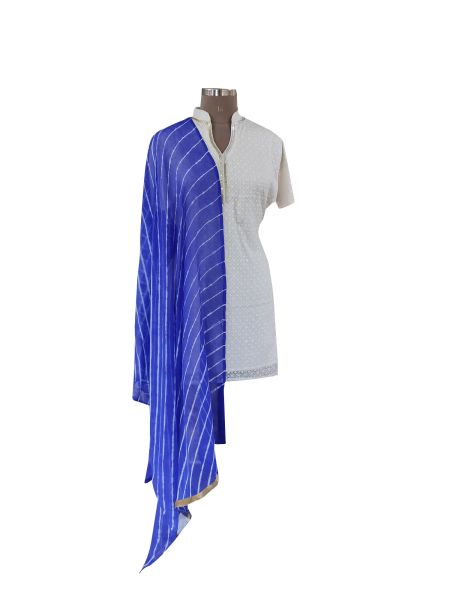 Jaipuri Lehariya Faux Chiffon Blue Dupatta DP03