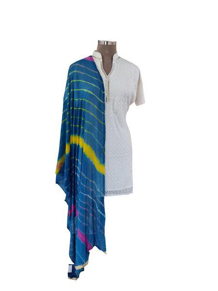 Jaipuri Lehariya Faux Chiffon Turquoise Dupatta DP02
