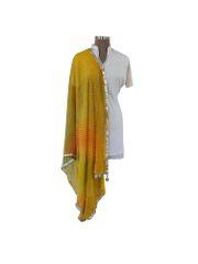 Jaipuri Lehariya Faux Chiffon Yellow Dupatta DP01