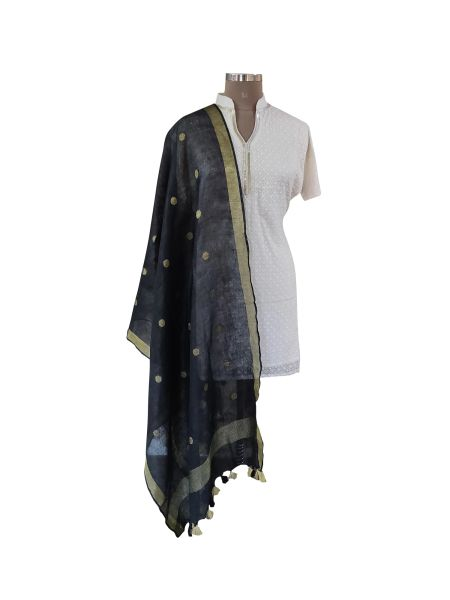 Handloom Linen Gold Butti Black Dupatta BLD17