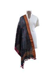Handloom Linen Black Butti Dupatta BLD16
