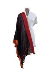 Handloom Tissue Linen Black Check Dupatta BLD15