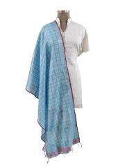 Handloom Tissue Linen Blue Check Dupatta BLD13