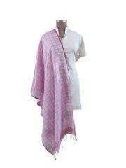 Handloom Tissue Linen Pink Check Dupatta BLD12