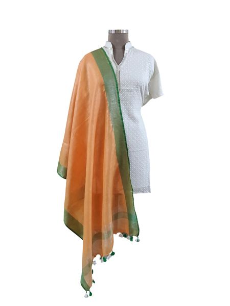 Handloom Linen Orange Solid Dupatta BLD10