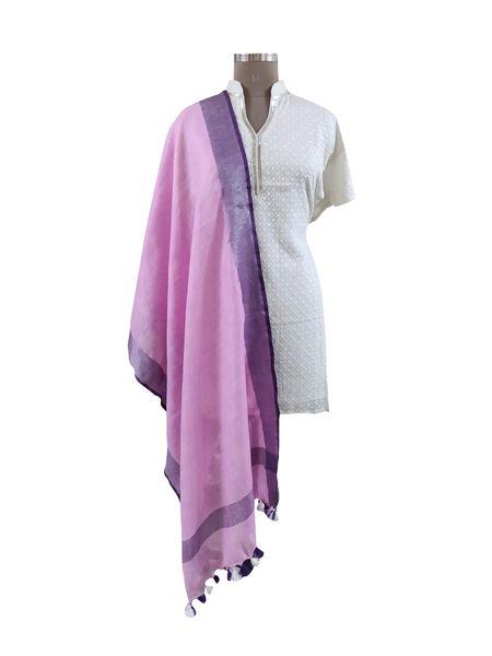 Handloom Linen Pink Solid Dupatta BLD09