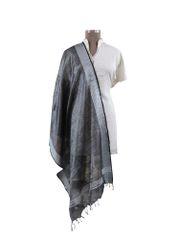 Handloom Tissue Linen Solid Black Dupatta BLD07