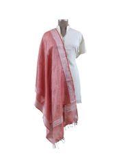 Handloom Tissue Linen Solid Pink Dupatta BLD06