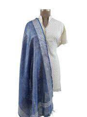 Handloom Tissue Linen Solid Blue Dupatta BLD05