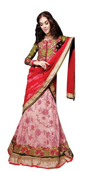 Peach Maroon Net Lehenga Choli Dupatta Fabric Only SC5005