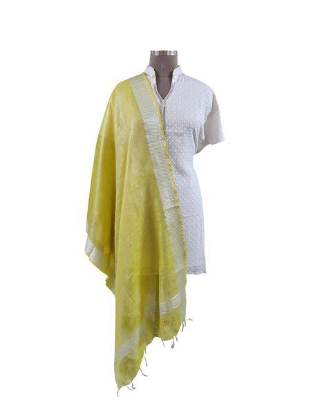 Handloom Tissue Linen Solid Yellow Dupatta BLD04
