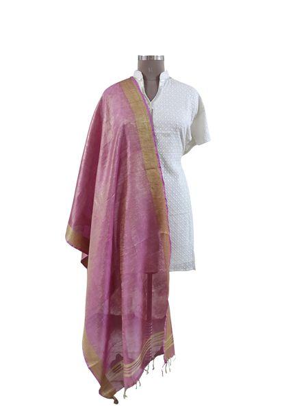 Handloom Tissue Linen Solid Pink Dupatta BLD03