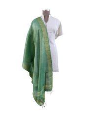 Handloom Tissue Linen Solid Green Dupatta BLD02