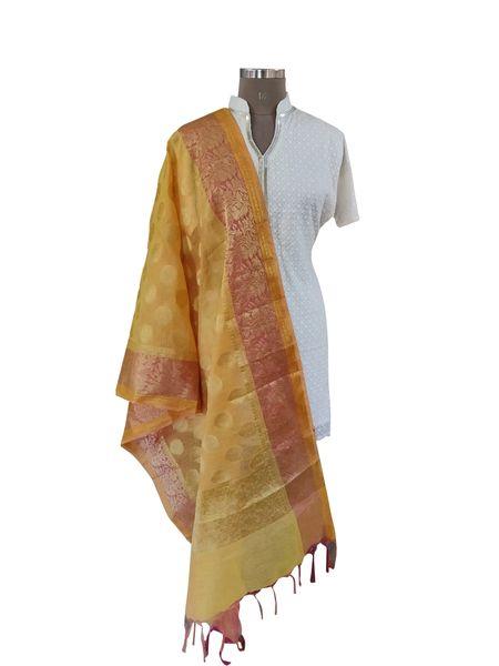 Benaras Kota Cotton Weaven Dupatta (Yellow_BKCD04)