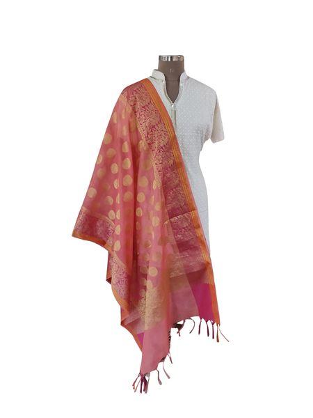 Benaras Kota Cotton Weaven Dupatta (Orange_BKCD02)