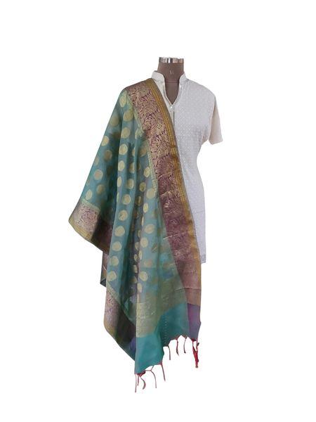 Benaras Kota Cotton Weaven Dupatta (Turquoise_BKCD01)