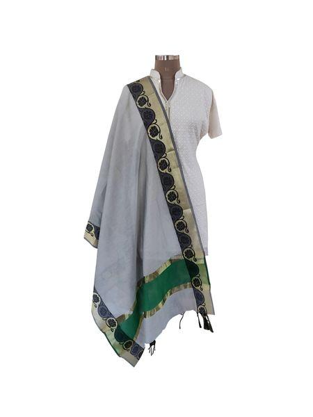 Benaras Cotton Silk Dupatta (Gray_BCPD04)