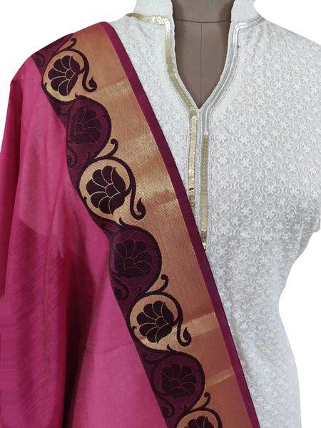 Benaras Cotton Silk Dupatta (Pink_BCPD05)