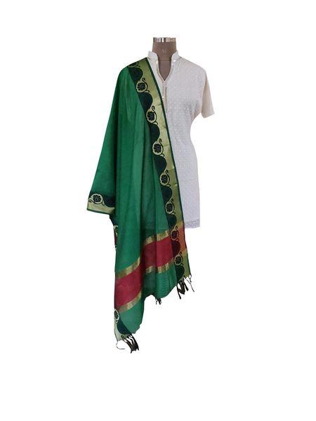 Benaras Cotton Silk Dupatta (Green_BCPD03)