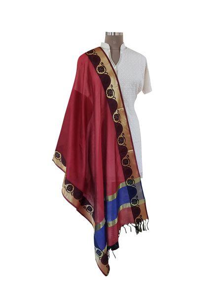 Benaras Cotton Silk Dupatta (Maroon_BCPD01)