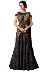 Designer Black Jequard Heavy Indo Western Lehenga Saree
