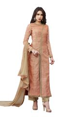 Designer Peach Slub Silk Semi Stitched Dress Material SC3068
