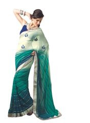 Teal Green Border Patch Georgette Saree SC4009