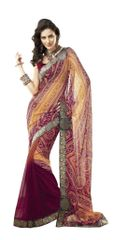 Maroon Multi Border Patch Georgette Saree SC4005