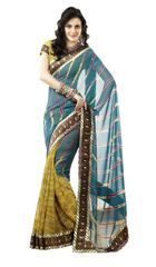Blue-Green Border Patch Georgette Saree SC4013