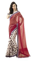 Cream-Red Border Patch Georgette Saree SC4017