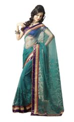 Turquoise Embroidered Net Saree SC4021