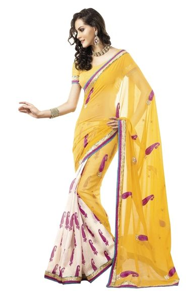 Yellow- Off White Lacer Border Embroiderd Georgette Saree SC4022