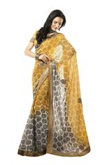 Yellow Lacer Border Embroiderd Georgette Saree SC4023