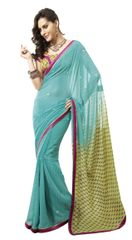 Turquoise Border Lacer Work Georgette Saree SC4024