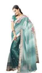 Teal Light Embroidered Net and Georgette Saree SC4030