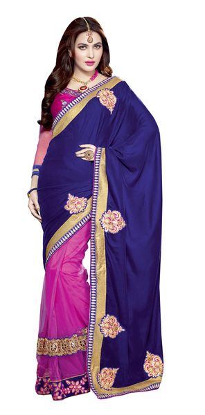Navy blue velvet net Saree SC1107