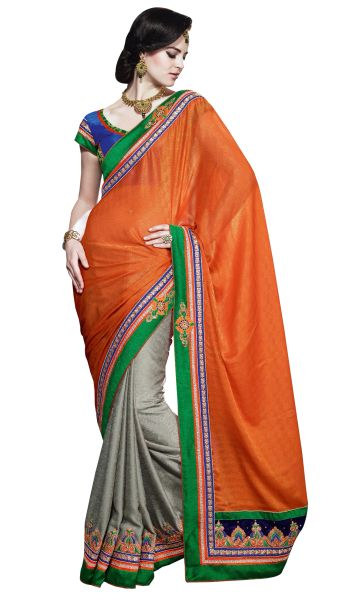 Orange Jequard Saree SC1102