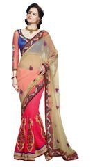 Cream Georgette Jequard Saree SC1101